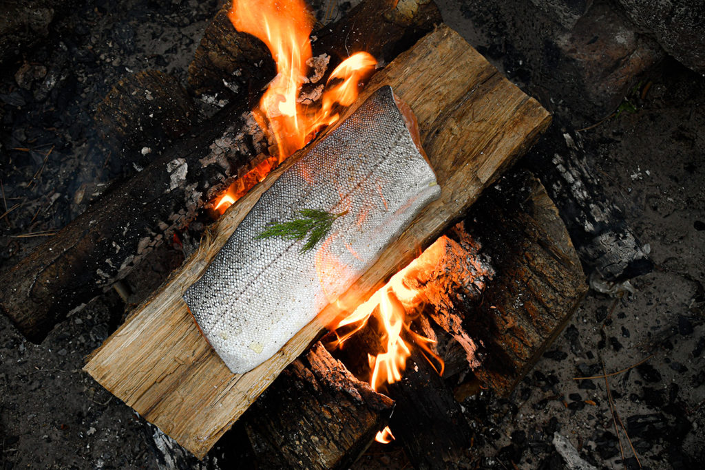 Campfire Cooking Trout on a Log